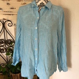 J Jill blue and white stripped linen button up